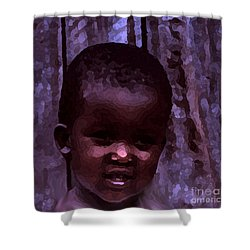 Shower Curtain featuring the pyrography African Little Girl by Lydia Holly