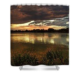 Afterglow Shower Curtain by Saija  Lehtonen