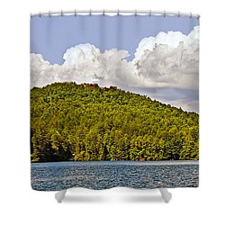 Shower Curtain featuring the photograph Afternoon Clouds Over Lake by Susan Leggett