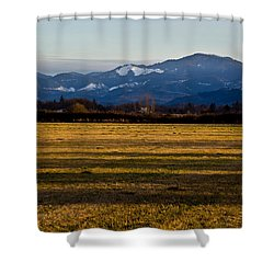 Afternoon Shadows Across A Rogue Valley Farm Shower Curtain by Mick Anderson