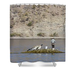 Agua Verde Fisherman  Shower Curtain by Anne Mott