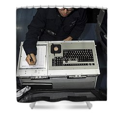 Air Traffic Controller Records Incoming Shower Curtain by Stocktrek Images