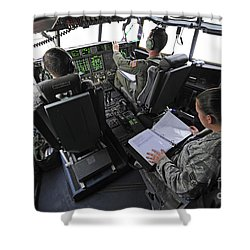 Aircrew Perform Preflight Checklists Shower Curtain by Stocktrek Images