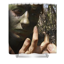 Airman Applies Camouflage Paint Shower Curtain by Stocktrek Images