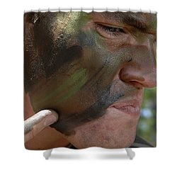 Airman Applies War Paint To His Face Shower Curtain by Stocktrek Images