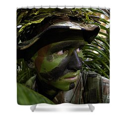 Airman Conceals Himself By Blending Shower Curtain by Stocktrek Images