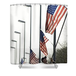 Airman Posts A New Flag On The Main Shower Curtain by Stocktrek Images