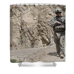 Airman Provides Security During Combat Shower Curtain by Stocktrek Images