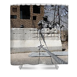Airman Stands Post To The Entry Control Shower Curtain by Stocktrek Images