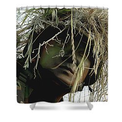 Airman Wearing A Ghillie Suit Shower Curtain by Stocktrek Images