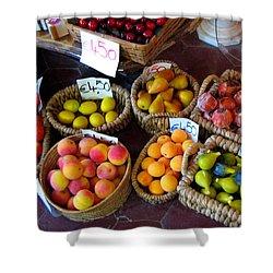 Alabaster Fruit Shower Curtain by Carla Parris