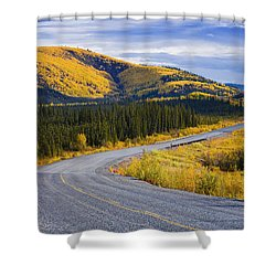 Alaska Highway Near Beaver Creek Shower Curtain by Yves Marcoux