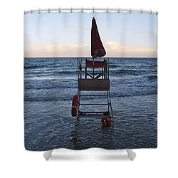 Shower Curtain featuring the photograph Alassio Sunset Facing East by Andy Prendy