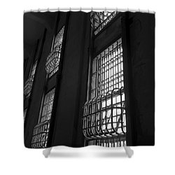 Alcatraz Federal Penitentiary Cell House Barred Windows Shower Curtain by Daniel Hagerman