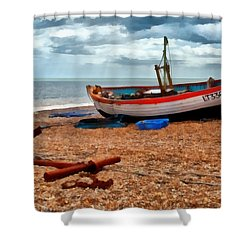 Aldeburgh Fishing Boat Shower Curtain