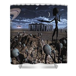 Alien Explorers On An Alien World Shower Curtain by Mark Stevenson