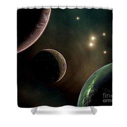 Alien Worlds That Orbit Different Types Shower Curtain by Mark Stevenson