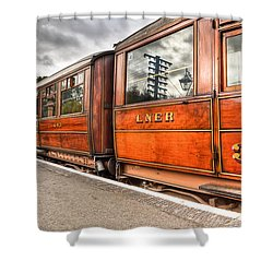 All Aboard Shower Curtain by Adrian Evans