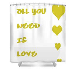 All You Need Is Love - Yellow Shower Curtain by Georgia Fowler
