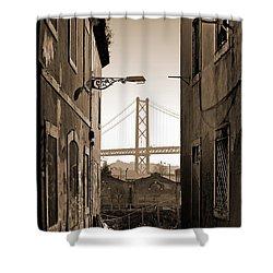Alley And Bridge Shower Curtain by Carlos Caetano