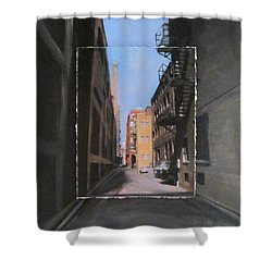Alley With Red And Tan Buildings Layered Shower Curtain by Anita Burgermeister