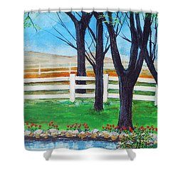 Shower Curtain featuring the painting Along The Lane by Dan Whittemore