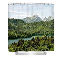 Alps From Bavaria Shower Curtain by Rick Frost