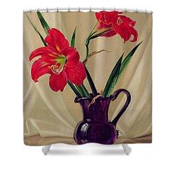 Amaryllis Lillies In A Dark Glass Jug Shower Curtain by Albert Williams