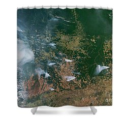 Amazon Basin Forest Fires, Satellite Shower Curtain by NASA / Science Source
