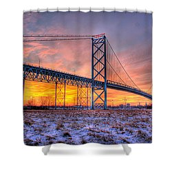 Ambassador Bridge Sunrise 1-16-2012  Detroit Mi Shower Curtain