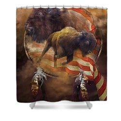 American Buffalo Shower Curtain by Carol Cavalaris
