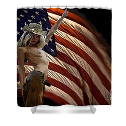 American Cowgirl Shower Curtain by Tbone Oliver