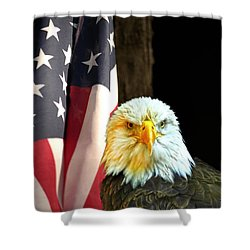 Shower Curtain featuring the photograph American Eagle And American Flag by Randall Branham