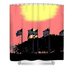 Shower Curtain featuring the photograph American Flags1 by Zawhaus Photography