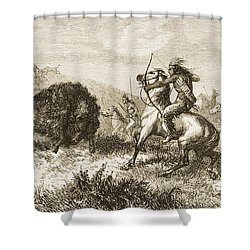 American Indians Buffalo Hunting. From Shower Curtain by Ken Welsh