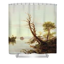 American Lake Scene Shower Curtain by Thomas Cole