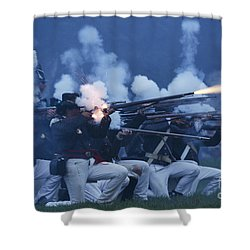 American Night Battle Shower Curtain by JT Lewis