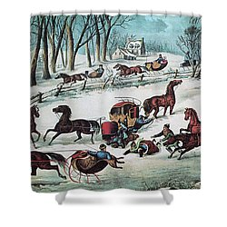 American Winter 1870 Shower Curtain by Photo Researchers