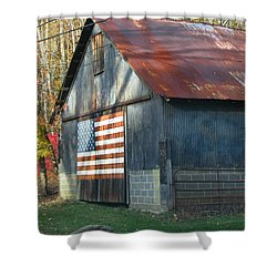 Shower Curtain featuring the photograph Americana Barn by Clara Sue Beym