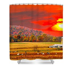 Amish Farm Sundown Shower Curtain by Randall Branham