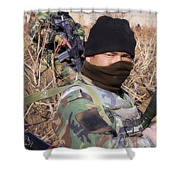 An Afghan Commando On Patrol Shower Curtain by Stocktrek Images