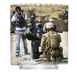 An Afghan Police Student Loads A Rpg-7 Shower Curtain by Terry Moore