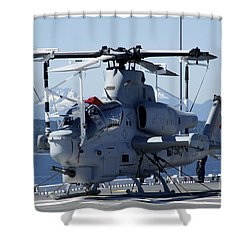 An Ah-1w Cobra Is Chained To The Flight Shower Curtain by Stocktrek Images