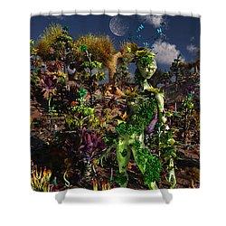 An Alien Being Blending Shower Curtain by Mark Stevenson