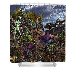 An Alien Being Surveys The Colorful Shower Curtain by Mark Stevenson