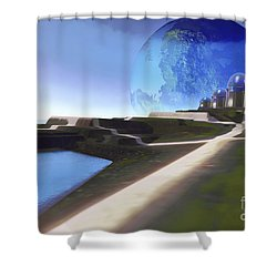 An Alien World With Strange Shower Curtain by Corey Ford