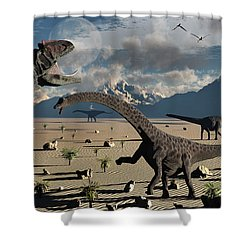 An Allosaurus Confronts A Small Group Shower Curtain by Mark Stevenson