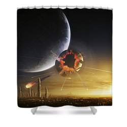 An Apocalyptic Scene Showing A Gravity Shower Curtain by Tobias Roetsch