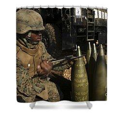 An Artilleryman Places A Fuse Shower Curtain by Stocktrek Images