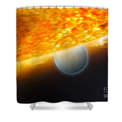 An Artists Impression Of A Jupiter-size Shower Curtain by Stocktrek Images